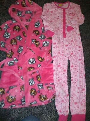 Girls bundle paw patrol dressing gown & Moshi monster all in one Age 5-6 Years