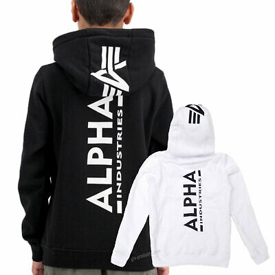 Alpha Industries Back Print Hoody Kids 198716 -  Kangaroo pocket spine print new