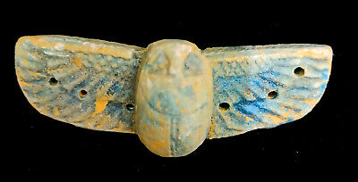 Rare Stone Winged Scarab Beetle Figurine Khepri Amulet Egyptian Antiques Faience