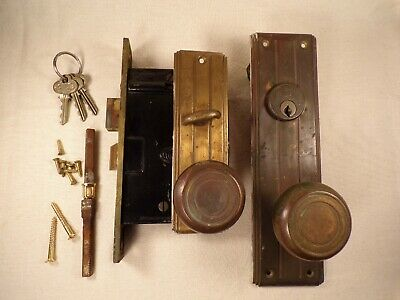Antique Mortise Lock w/ Escutcheon Knobs Spindle Working Key Art Deco Hardware