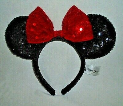 Disney Parks Minnie Mouse Ears Headband Black Red Sequin Adult Tags