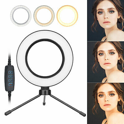 "6"" LED Ring Light Kit With Stand Dimmable 5500K Selfie For Camera Makeup Phone"