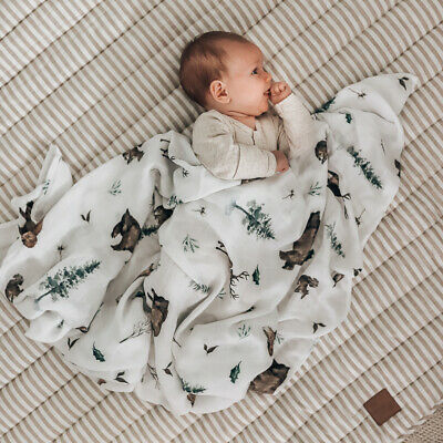 Woodland Baby Muslin Swaddle Blanket 120x120cm 70% Bamboo 30% Cotton