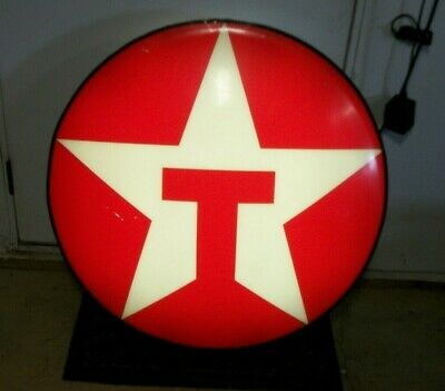 "Vintage 33"" Round Lighted Texaco Sign Oil & Gas Advertising Sign MANCAVE"