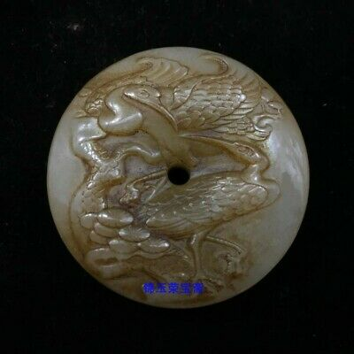 "2"" China Natural handcarved old antique hetian jade crane Safety buckle Pendant"