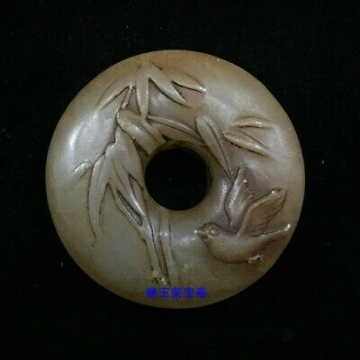 "2"" Chinese Natural handcarved old antique hetian jade bird Safety buckle Pendant"