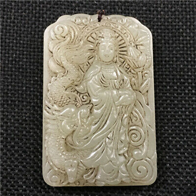 China antique handcarved Natural white old hetian jade guanyin dragon Pendant