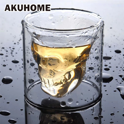 3 sizes Two Ways Shot Transparent Crystal Skull Head Glass Cup For Whiskey Wine
