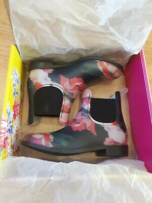 🌸Girls Joules Wellibob Navy Wellies Boots Floral Size 12 EU 31 Wellington