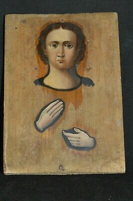 ORIGINAL Antique Icon 19th Russian Orthodox Hand Painted Doctor St. Panteleimon