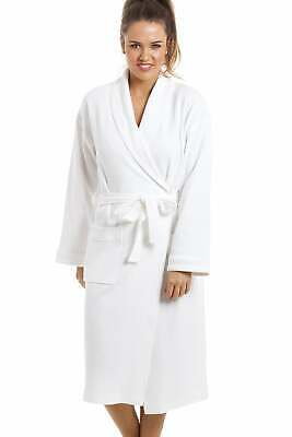 Camille Womens Ladies Nightwear Luxury White 100% Cotton Waffle Bathrobe Gown