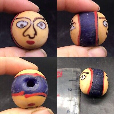 Ancient 2 sided glass Face bead RARE