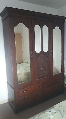 Victorian 2 door Wardrobe, mirrored panels and carved sections - 4 drawers