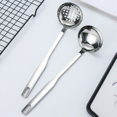 2Pcs Soup Ladle Colander Flatware Cookware Steel Slotted Spoon Cooking Utensil