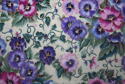 Oop/Rare - Pansies On White By Faye Burgos  - 100% Cotton Fabric