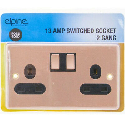 New 13Amp Rose Gold Socket Double Switch Plug 2 Gang Power Electric Wall Home