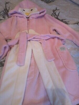 Joules Girls Penguin Dressing Gown Age 7-8 Years
