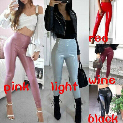 Womens Wet Look PU Leather Skinny Leggings High Waisted Stretch Trousers Pant_CP