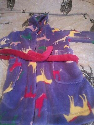 Joules Girls Horse Print Hooded  Dressing Gown / Bath Robe  Age 5-6 Years