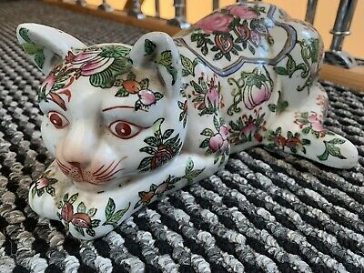 Rare House Clearance Attic Find Antique Chinese Porcelain Large Cat  Decoration