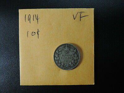 1914 10 Cent Coin Canada George V Ten Cents .925 Silver. VF Grade