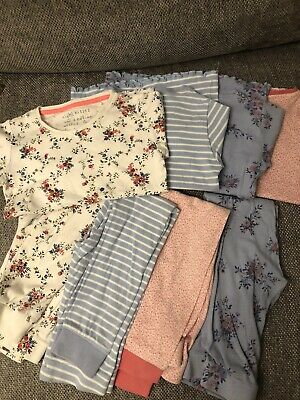 Next Girls 4 X Pyjama Sets Floral/stripes. Snuggle Me/skinny Fit. Age 7 Years