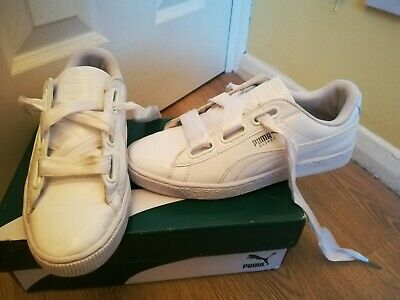 PUMA BASKET HEART Trainers Baby Girl Infant Size 5 White