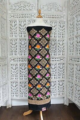 Black crepe silk embroidered beaded unstitched craft  fabric  new SKU16009