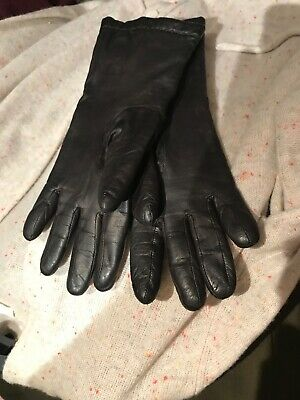 Gloves Very Soft Leather Womans Dark Brown Lining 100% Pure Cashmere Sz 7