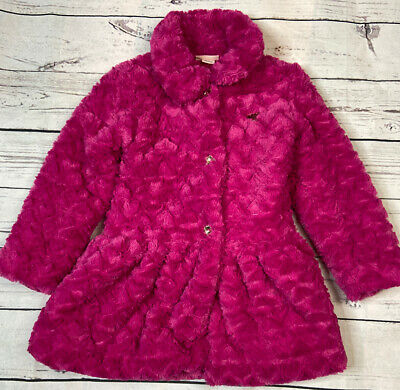 Juicy Couture Pink Faux Fur Girls Jacket Heart Size 7