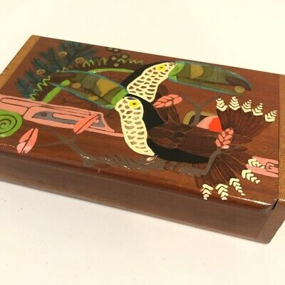 Costa Rica Jewelry Box Vintage Wooden Hand Painted Artisan Toucan Bird Jungle