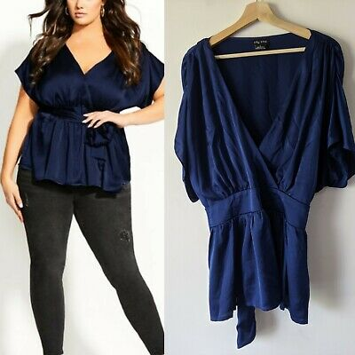 City Chic Plus Size L navy blue sateen mock wrap tangled Top AS NEW