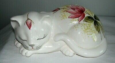 Vintage Porcelain Sleeping CAT White Hand Painted Floral Japan Candlewood Gifts
