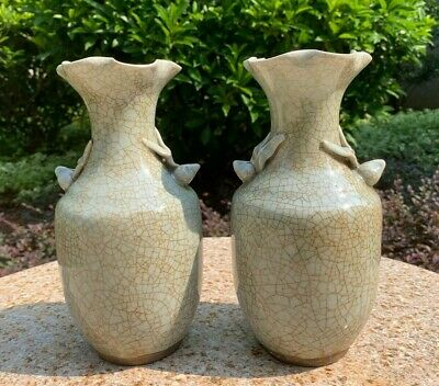 Estate Collection Chinese Antique Green Glazed Porcelain Vase Pair
