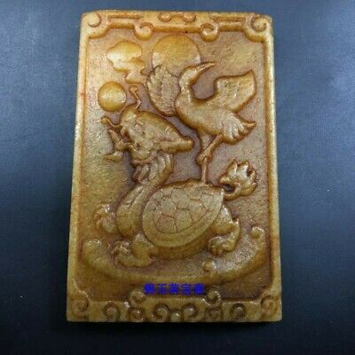 "3"" Chinese antique Natural hetian jade handcarved crane dragon turtle Pendant"