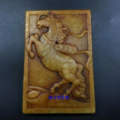 "3"" Chinese antique 100% Natural hetian jade handcarved Horse Copper coin Pendant"