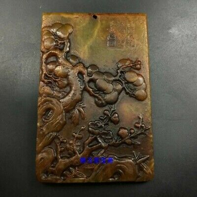 "3"" Chinese old antique 100% Natural hetian jade handcarved flower Pendant Z1380"