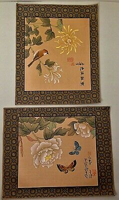 Two Chinese hand painted pictures on silk signed unframed 23 cm x 28.2 cm floral