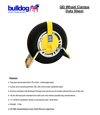 "Bulldog Trailer Caravan QD13 WHEEL CLAMP SUITS 12"" & 13"" 195/50 R13, 195/60 R12"
