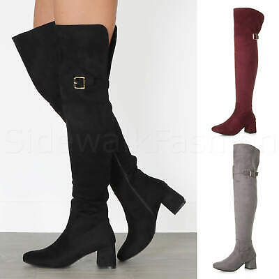 Womens ladies block mid low heel buckle knee high over the knee riding boot size