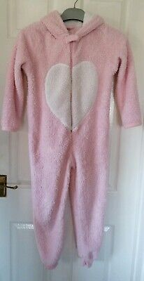 Primark YD Girls pink all in one Hooded pyjamas age 9-10 years