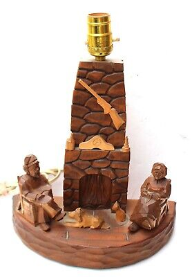 Beauregard Berthier Quebec Folk Art Style Carved Wood Lamp