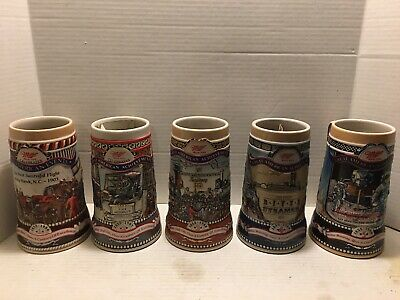 Complete set of 5 Miller Great American Achievements Steins Made in Brazil
