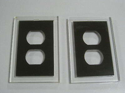 Set of 2 Vintage Modern Clear Acrylic Wall Plate With Brown Insert