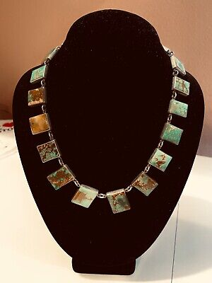 "Federico Jimenez turquoise and sterling silver necklace, 18"", 19 stones, Navajo"
