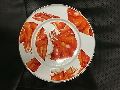Golden rabbit Enamelware Malibu Dots Orange 10.5 Dinner Plate