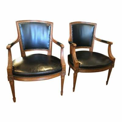 Pair of Antique Style Wood and  Leather Arm Chairs