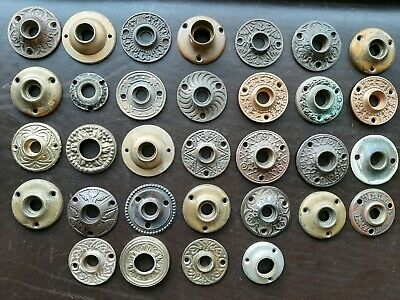 32 Rosette Back Plates Antique Victorian Eastlake Brass Bronze Cast Iron Lot