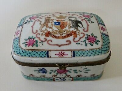 Antique Chinese Export Lidded Armorial Porcelain Box