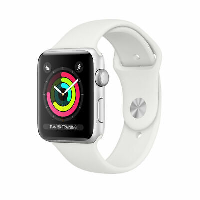 Apple Watch Series 3 38 mm Smartwatch (GPS Only, Silver Aluminum Case, White...